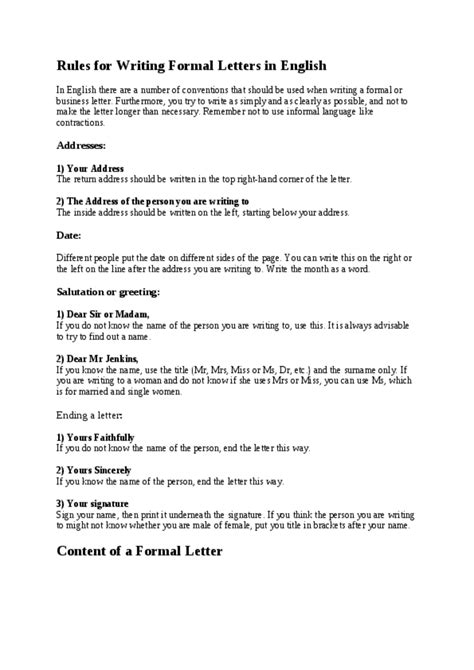 rules  writing formal letters  english referat ot