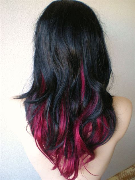Ombre With Pink And Black Hair Pink Black Hair