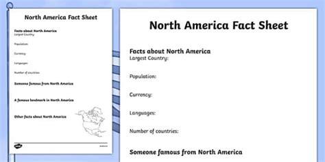 North America Factsheet Writing Template  North America, North