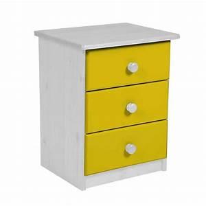 Table De Chevet Jaune : table de chevet 3 tiroirs verona 58cm blanc jaune ~ Melissatoandfro.com Idées de Décoration