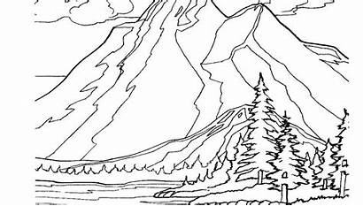Coloring Mountain Pages Landscape Scenery Printable Adults