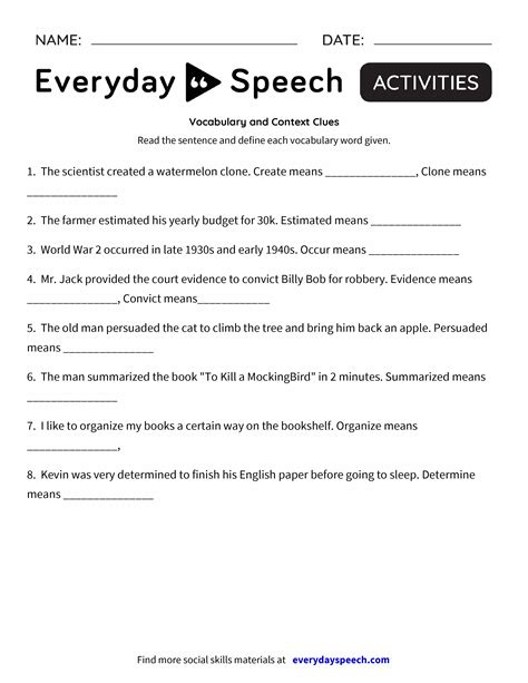 vocabulary and context clues everyday speech everyday