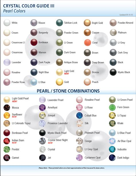 pearl color meaning new swarovski color charts artbeads