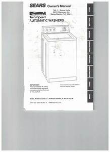 Sear Users Guide Instruction Manual Kenmore Two Speed
