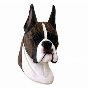 Boxer Head Plaque Figurine Brindle