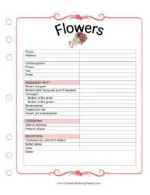 printable wedding planner flowers
