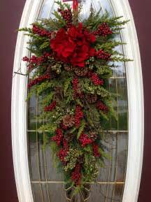 christmas wreath winter wreath holiday vertical teardrop swag door decor quot seasons greetings