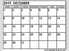 December 2019 Calendar Cute – printable month calendar