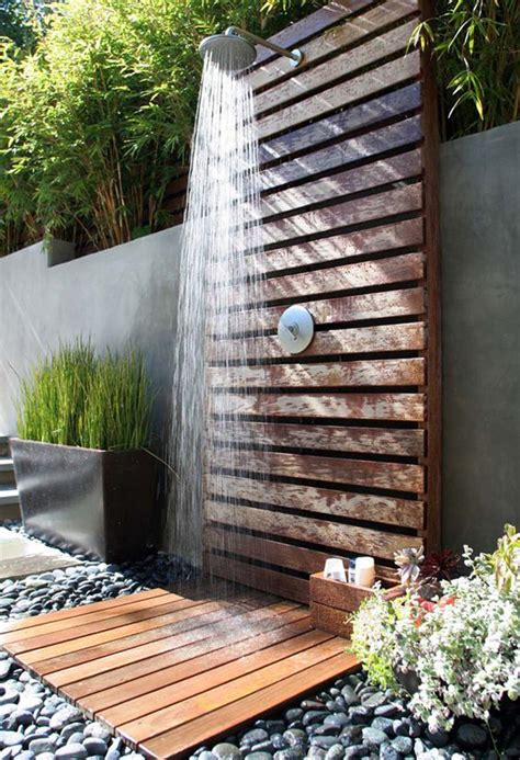 tropical outdoor showers  peaceful feeling home