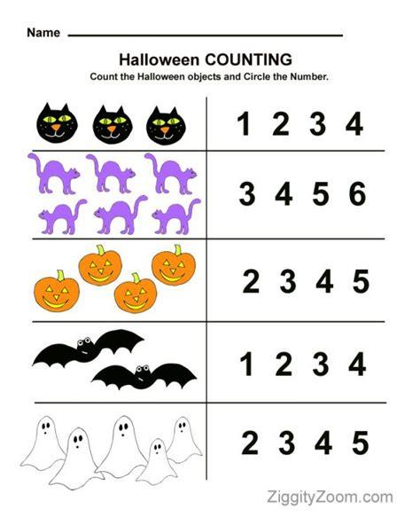 Halloween Counting Preschool Worksheet  Ziggity Zoom