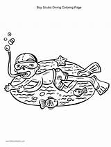 Scuba Coloring Diving Boy Pages Printable Getcolorings sketch template