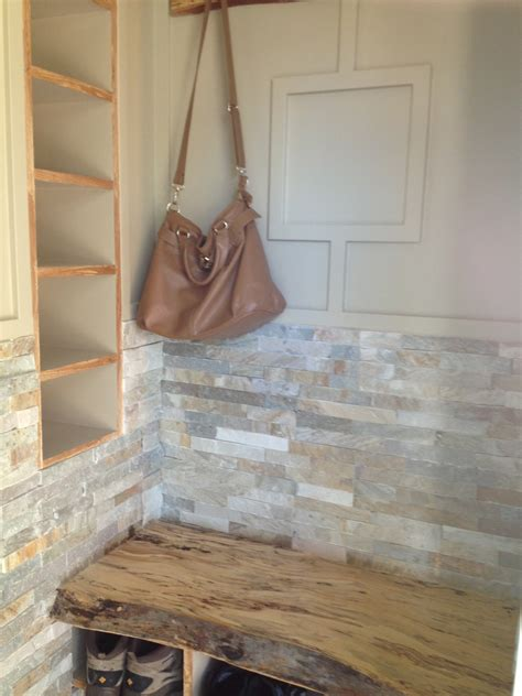 front entrance   edge maple bench  stone walls