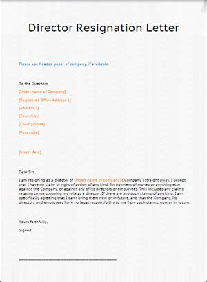 director resignation letter template lawbitedirector