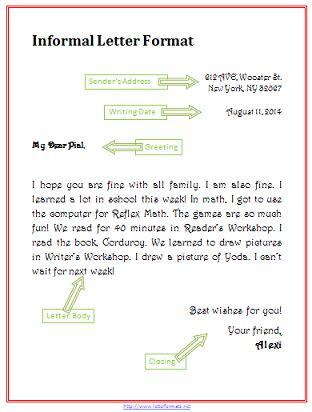 informal letter format letterformatsnet
