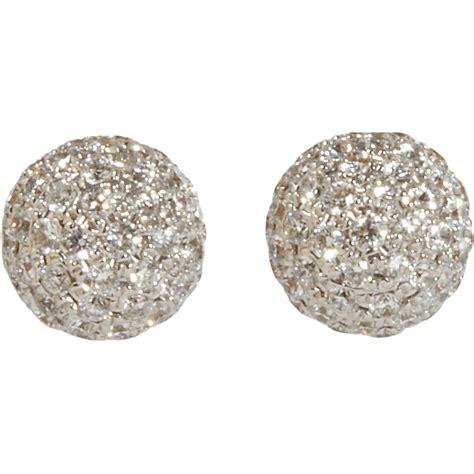 pave jewelry shamballa jewels pave diamond ball stud earrings in white lyst