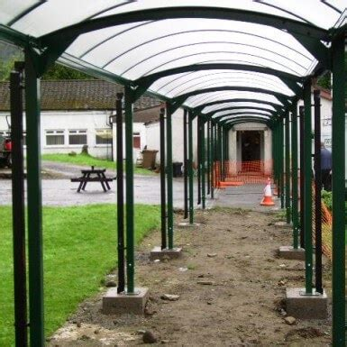 hd barrel roof covered walkway ace shelters