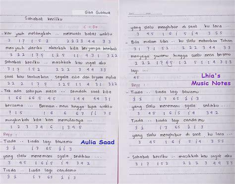 not angka lagu sempurna gita gutawa not angka gita gutawa sahabat kecilku lhia s notes