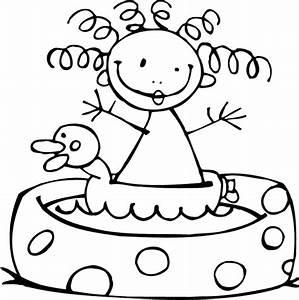 Dessin De Piscine : coloriage coloriage de personnages fille piscine gonflable ~ Melissatoandfro.com Idées de Décoration