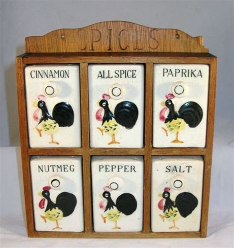 Vintage Rooster Spice Rack Set French Country Kitchen Made