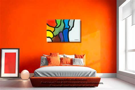 couleur de peinture pour chambre a coucher tableau violet bleu gris décoration originale design