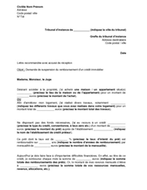 modele lettre suspension de credit immobilier exemple gratuit de lettre saisine tribunal instance