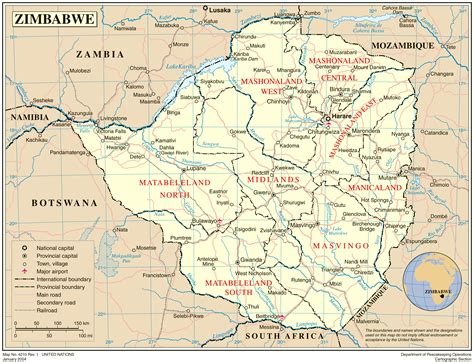 detailed political  administrative map  zimbabwe