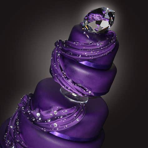 purple silver wedding cake idea   bella wedding