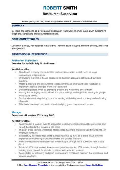 Restaurant Supervisor Resume by Restaurant Supervisor Resume Sles Qwikresume