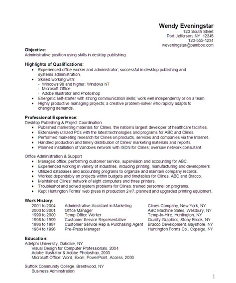 administrative desktop publishing resume sle http