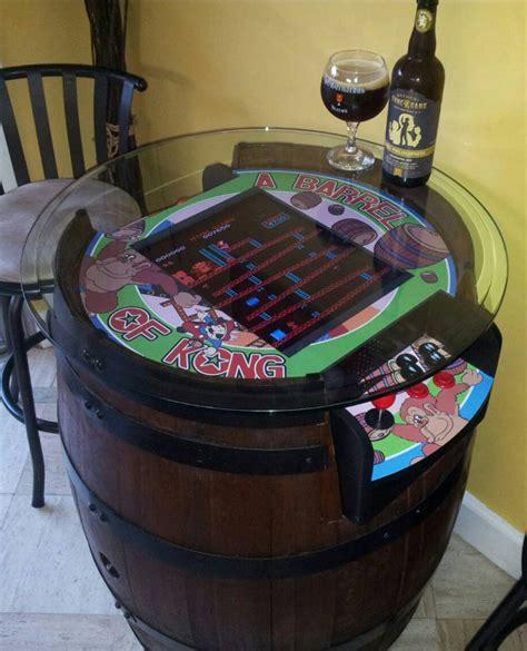 mame arcade cocktail cabinet plans custom sit kong built into a barrel