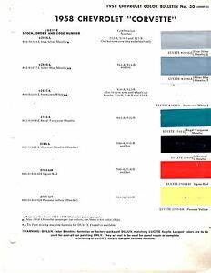 1958 Chevrolet Corvette 58 Paint Chips Dupont Ebay