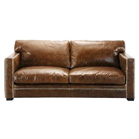 Canapé Vintage Marron - 3 4 seater leather sofa in brown dandy maisons du monde