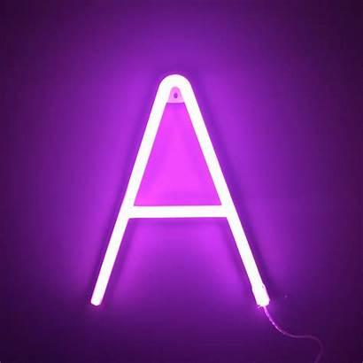 Neon Letter Pink Lettering Letters Purple Alphabet