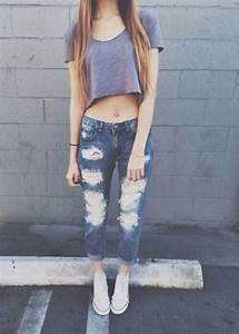 Blonde blue casual converse crop top easy girl goals grey jeans love outfits ripped ...