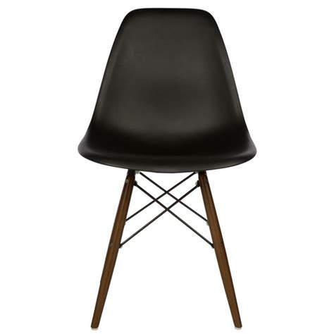 set of 4 eames style dsw molded black plastic dining shell