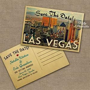 Las vegas save the date postcards vintage travel vegas save for Wedding invitations las vegas nv
