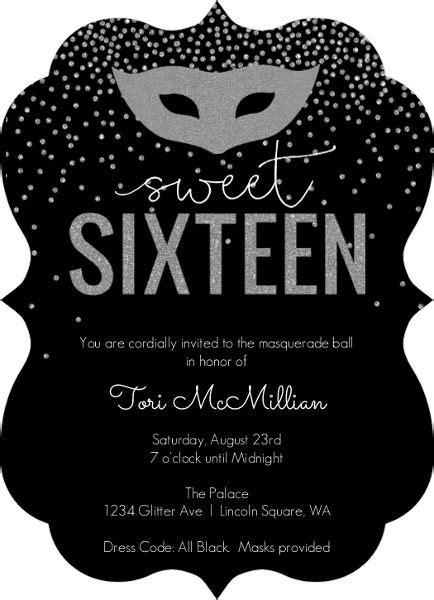 silver faux glitter masquerade sweet sixteen birthday