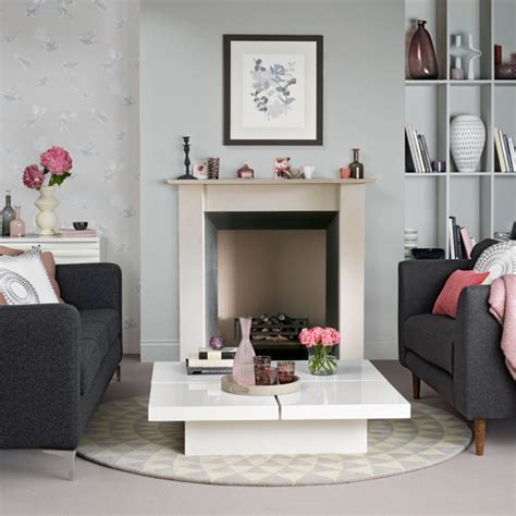 Grey and pink living room   Ideal Home
