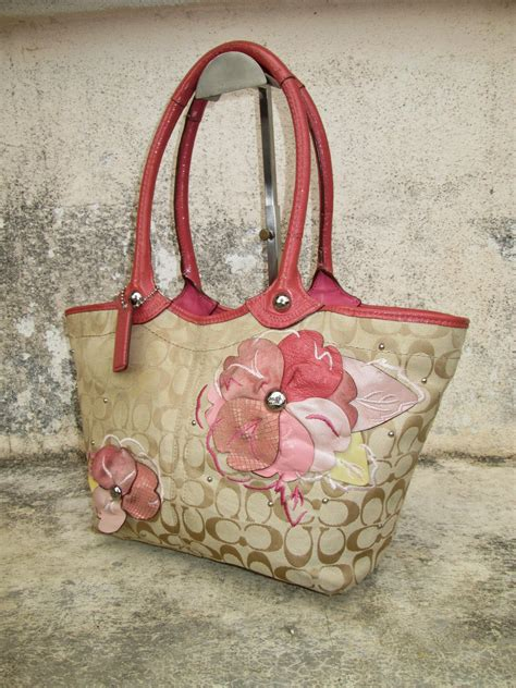 drayakeebag authentic coach signature bleecker flower floral applique handbagsold