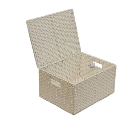 large storage basket with lid white extra large paper rope storage basket box with lid for storages wb 9690xl ebay