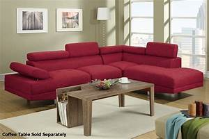 poundex jezebel f7550 red fabric sectional sofa steal a With red fabric sectional sofas