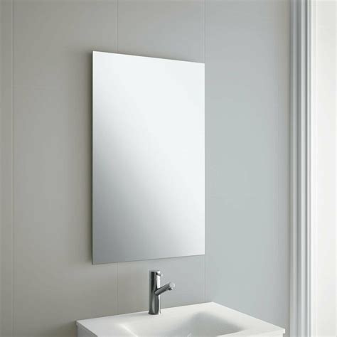 frameless bathroom mirror with wall hanging fixings ebay