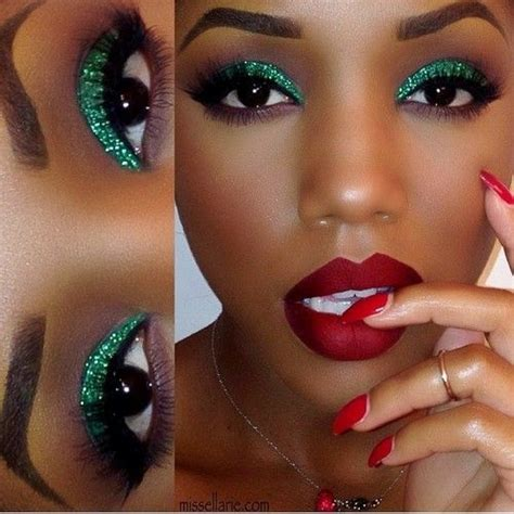 green glitter eyes red velvet lips christmas makeup