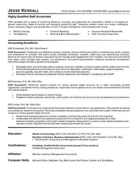 resume objective of acountant staff accountant resume exle http topresume info