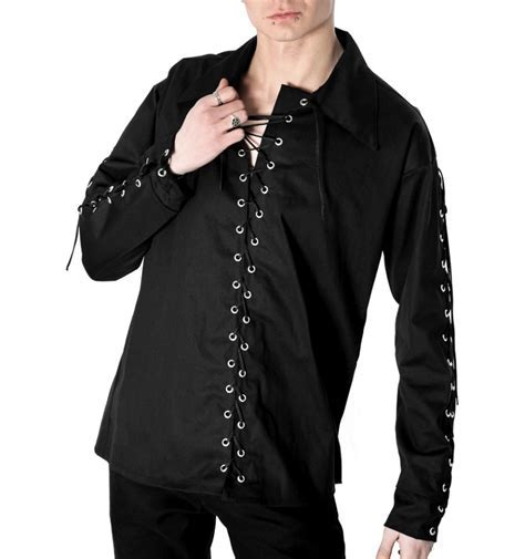 Gothic clothing: Aderlass eyelet shirt denim black