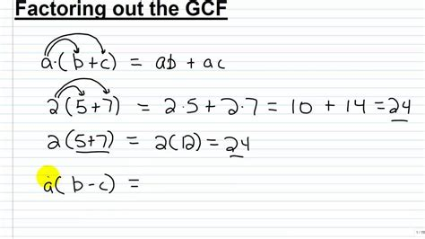 Algebra I Help Factoring Out The Gcf Part I Youtube