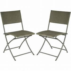 Chaise Resine Tressee : chaise pliante r sine tress e lot de 2 achat vente ~ Nature-et-papiers.com Idées de Décoration