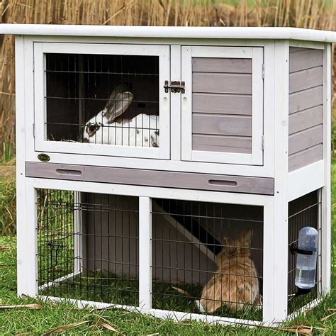 hutch company number trixie natura animal hutch with enclosure in gray white