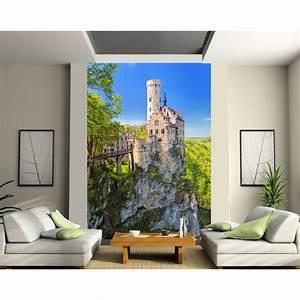 Papier Peint Sticker : papier peint grande largeur chateau sur la falaise art ~ Premium-room.com Idées de Décoration
