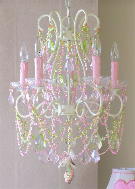 5 arm chandelier with pink and green crystals the